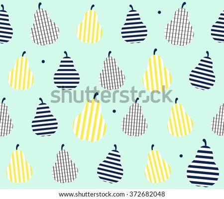 Cute Colorful Abstract Pear Fruit With Stripes Line Art On Green Background Design Pattern Seamless Wallpaper