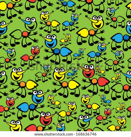 cute colorful ants seamless pattern - stock vector