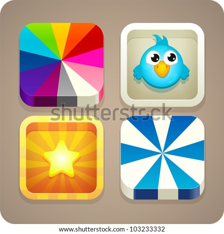 Cute colorful app icon set - stock vector