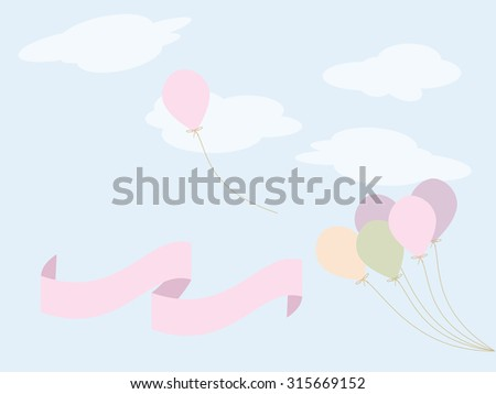 cute colorful balloons and ribbon
