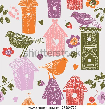 cute colorful birdhouses with birds. seamless pattern - stock vector