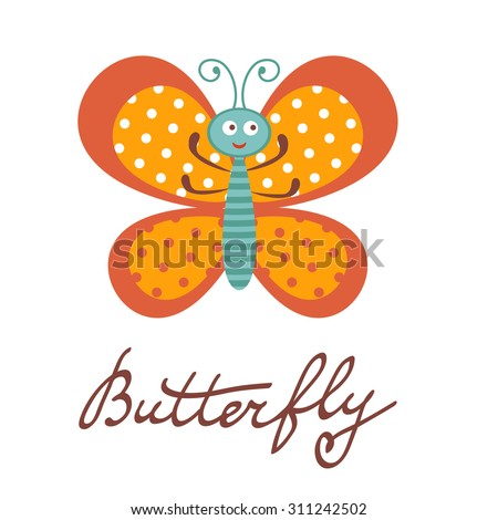 Cute colorful butterfly character illustration in vector format - stock vector