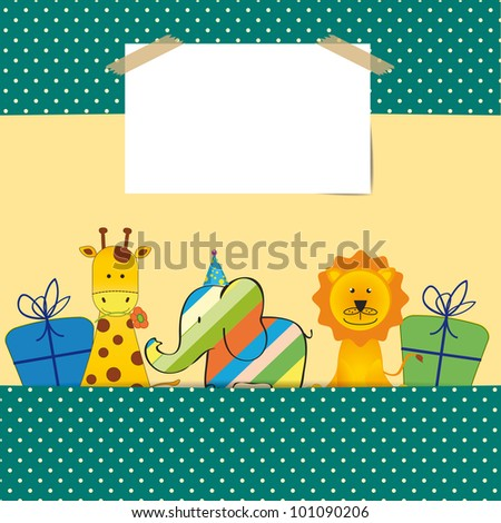 Cute colorful card on your happy birthday - stock vector