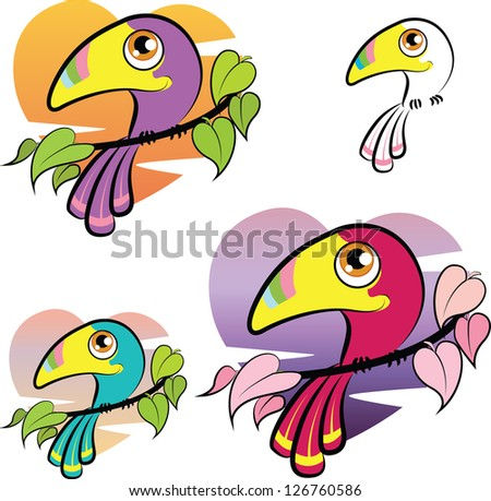Cute colorful cartoon toucan over a heart shaped background, color variations