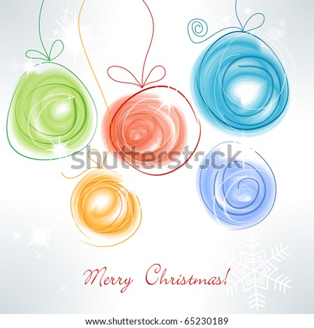 Cute colorful Christmas balls - stock vector