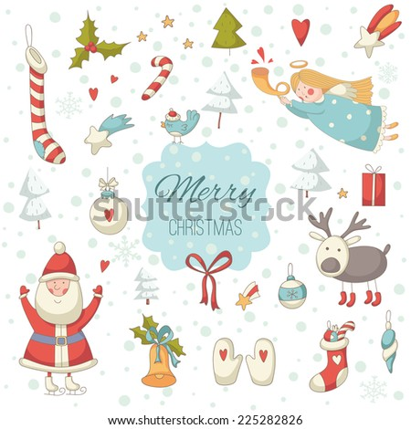 Cute colorful Christmas set with Santa Claus. EPS 10. No transparency. No gradients. - stock vector
