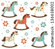 Cute colorful collection of rocking horses - stock vector