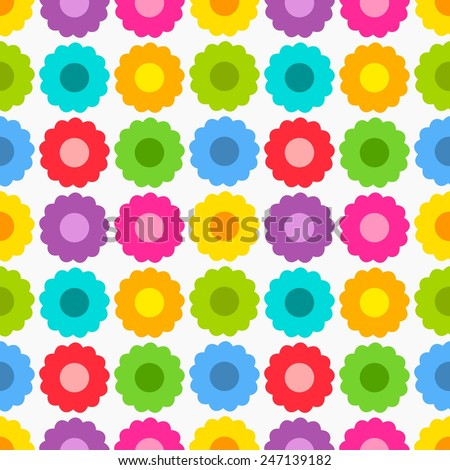 Cute colorful flowers seamless pattern. Vector illustration - stock vector