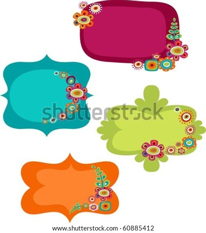 Cute colorful frames - stock vector