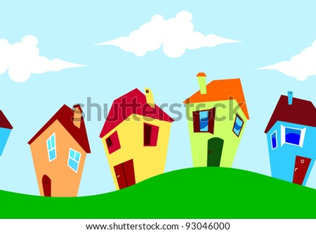 Cute colorful funny houses in street. Seamless horizontal.