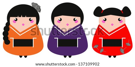 Cute colorful Geisha set isolated on white - stock vector