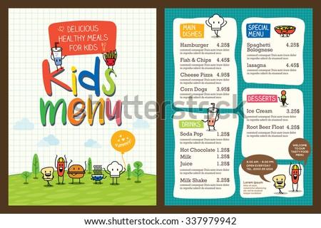 Cute colorful kids meal menu design vector template - stock vector