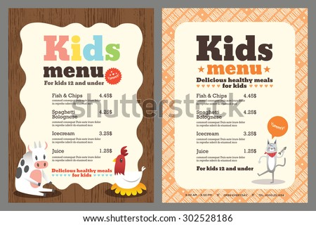 Cute colorful kids meal menu vector template with animals cartoon - stock vector