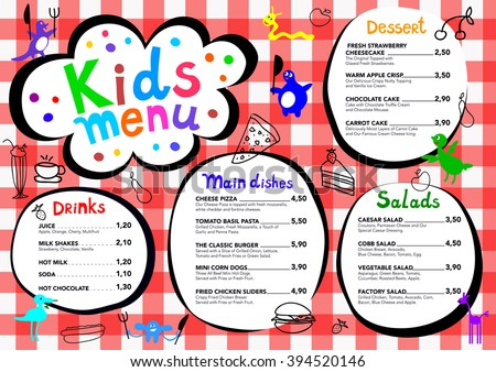 Cute Colorful Meal Kids Menu Template With Cute Little Monsters  Free Kids Menu Templates