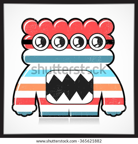 Cute colorful monster with grunge isolated on white. Cartoon illustration. vector - stock vector