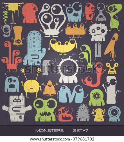 Cute colorful monsters on grunge background. vector set. cartoon illustration - stock vector
