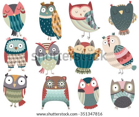 Cute Colorful Owl Friends Vector Set - stock vector