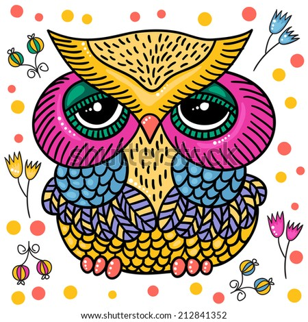Owl Drawing Color Cute Colorful Owl Isolated