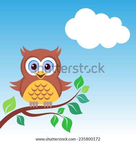 Cute colorful owl on the branch blue sky - stock vector