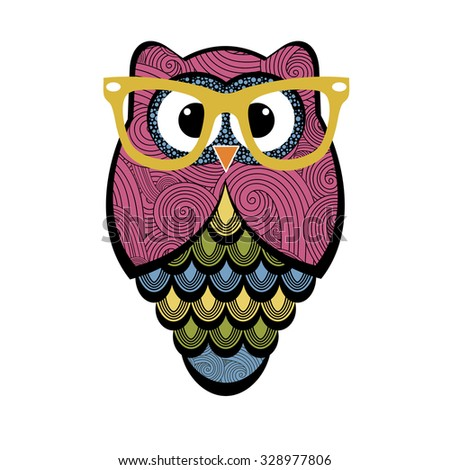 Cute colorful owl with glasses - stock vector