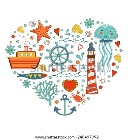 Cute colorful sea collection with various elements. Vector illustration - stock vector