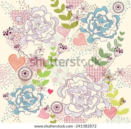 Cute colorful seamless pattern with flowers and hearts - stock vector