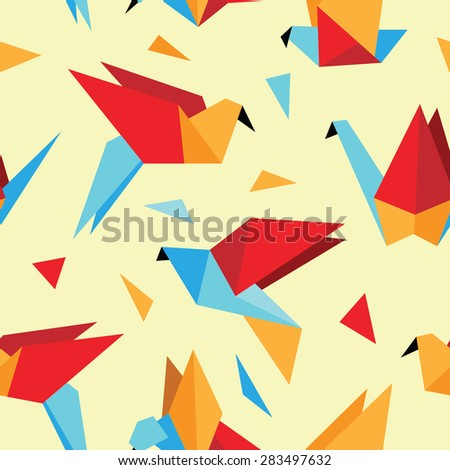 Cute colorful seamless pattern with origami birds. Can be used for desktop wallpaper or frame for a wall hanging or poster,for pattern fills, surface textures, web page backgrounds, textile and more. - stock vector