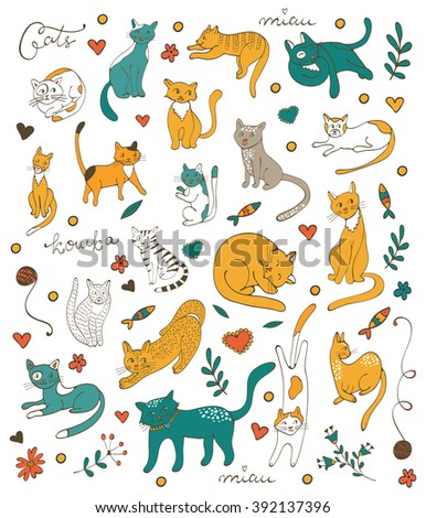 Cute colorful set of hand drawn cats with twigs flowers and leaves