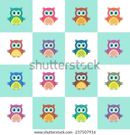 Cute colorful simple seamless christmas pattern with owls - stock vector