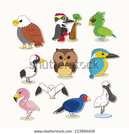 cute colorful vector bird set