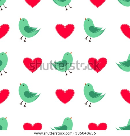 Cute Colorful Vector Seamless Valentines Day Pattern Illustration with Cute Colorful Green Birds and Cute Red Valentine Hearts for Valentine's Day