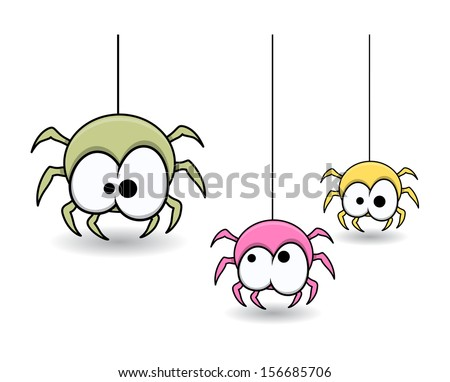 cute colorful web spiders - Halloween vector illustration - stock vector
