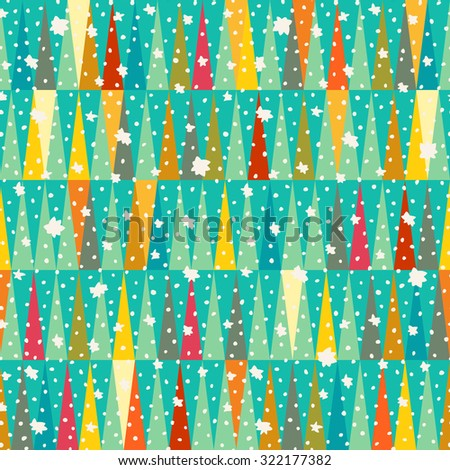 Cute colorful winter seamless abstract pattern with snow - stock vector