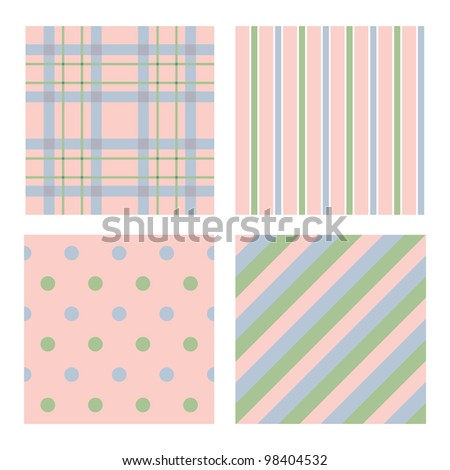 Cute colors four pattern set