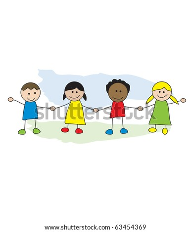 Cute colourful kids (eps10 vector) - stock vector