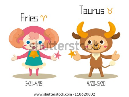 Cute Constellations Aries and Taurus - stock vector
