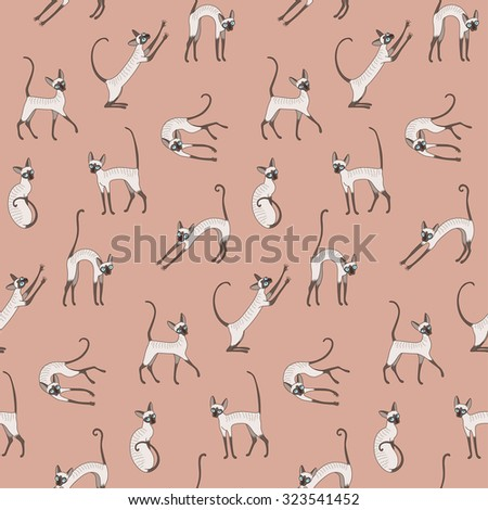 Cute cornish rex cats on pink background. Seamless pattern for your design