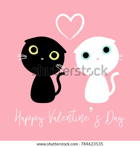 Cute Couple Cats Decorated Happy Valentines Stock Vector 784623535 ...