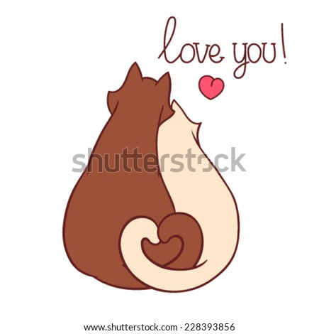 Cute couple of cats. Vector illustration. - stock vector