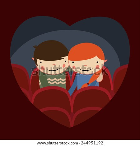 cute couple valentines date in cinema - stock vector