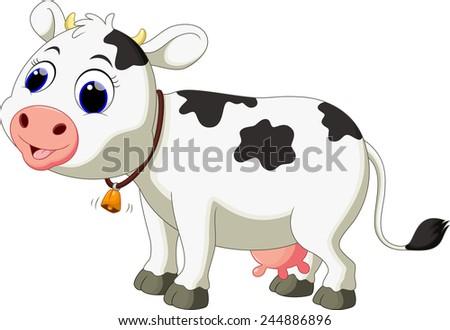 Cute cow cartoon - stock vector
