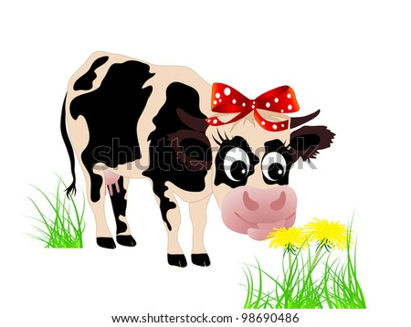 Cute cow eating dandelion in the grass - stock vector