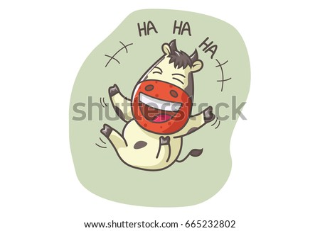 Cute Cow Laughing out Loudly. Vector illustration. Isolated on white background.