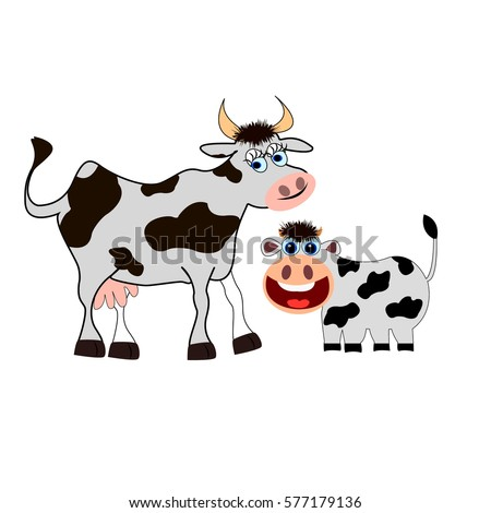 Cute Cow Mother With Baby Calf