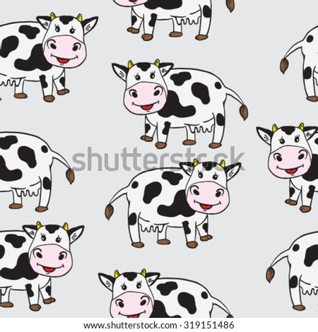 cute cow seamless pattern - stock vector