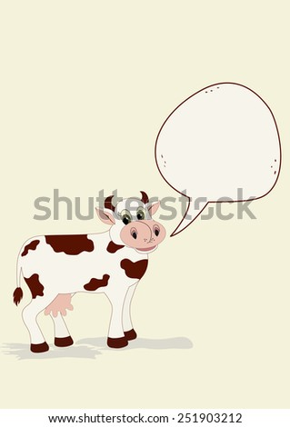 Cute cow with speech bubble on beige background - stock vector