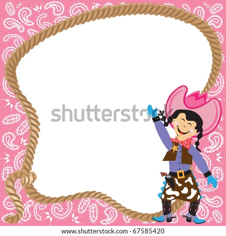 Cute Cowgirl Birthday Party Invitation with lasso and bandana border