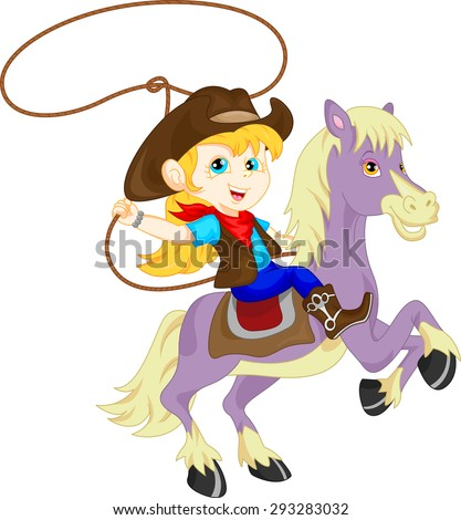 cute Cowgirl rider on the horse throwing lasso