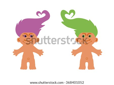 Cute creatures with colored hair. No ugly goblin, but nice monster. Loving couple trolls. Funny vector illustration. Cartoon character troll. White background with Trolls - stock vector