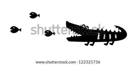 cute crocodile and fish vector - stock vector